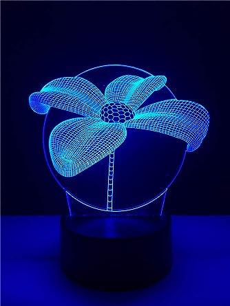 Flor De Loto 3D Mesa De Luz Nocturna Escritorio 7 Cambio De Color ...