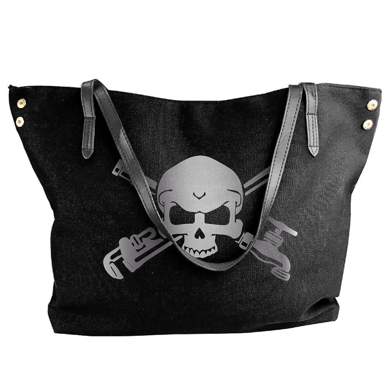 Plumber Skull Cross Wrenche Platinum Style Women Shoulder Bags