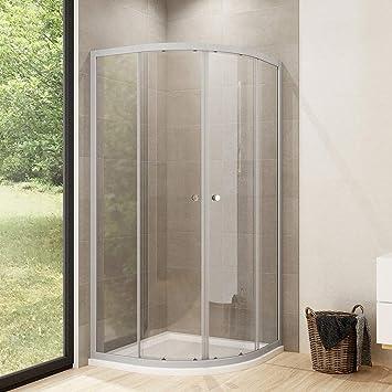Cabina de ducha redonda de cuarto de círculo para puerta corredera, mampara de ducha: Amazon.es: Bricolaje y herramientas