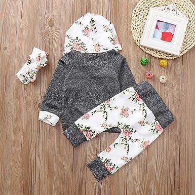 LANSKIRT Conjunto de Ropa Recién Nacido Infantil bebé niños niñas Manga Larga Estampado Floral Suéter con Capucha Pantalones Banda de Pelo Traje Invierno ...
