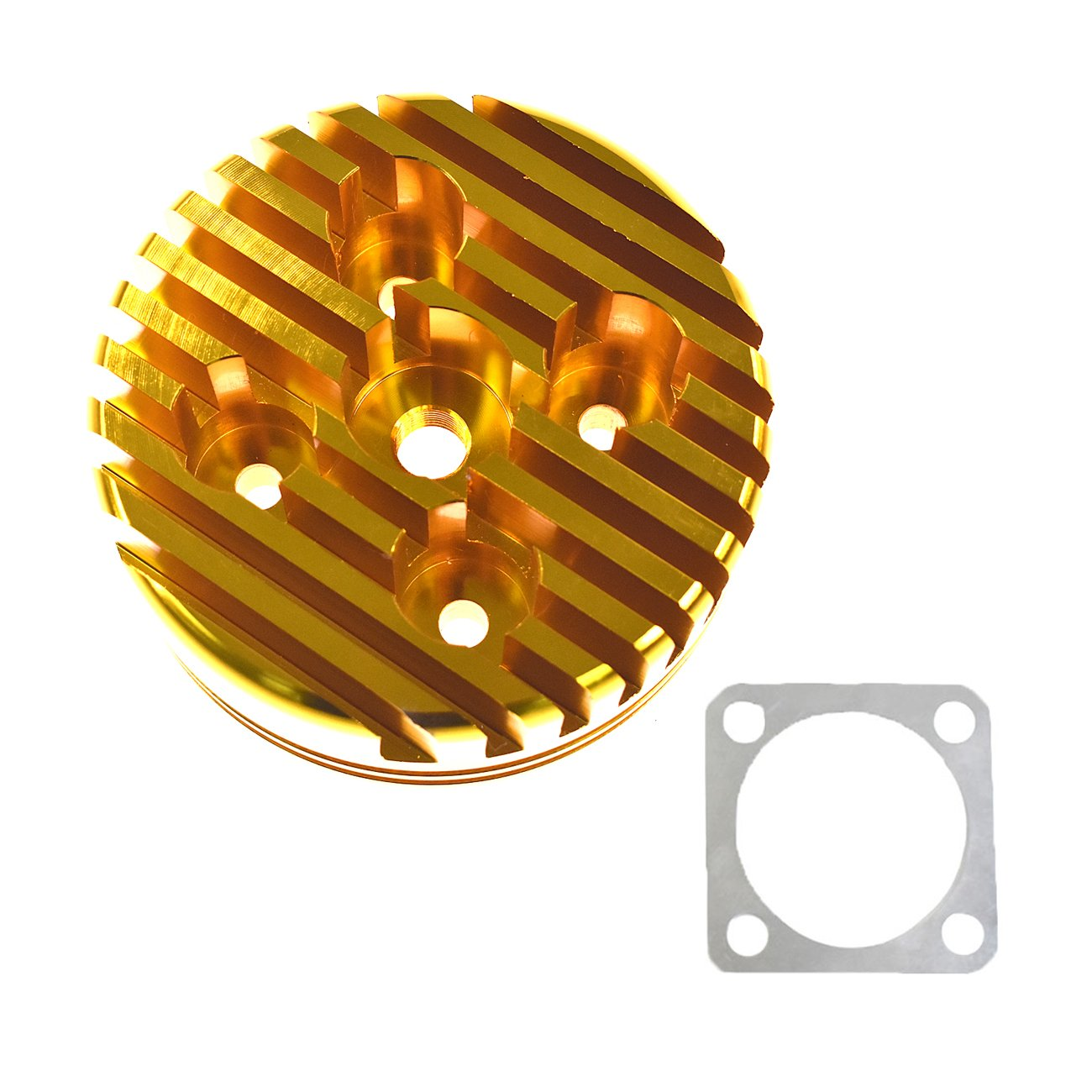 JRL Yellow CNC Cylinder Head for Racing 66cc/80cc Engine Gas Motorized Bicycle Custom Aluminum by JRL