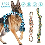 Dog Ropes for Large Dogs Aggressive Chewers Tough Indestructible Cotton Rope Chew Toys Medium Dog 30 Inches 4 Pounds…