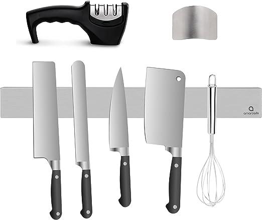 Anillo protector de dedos de acero inoxidable con soporte para cuchillos de cocina