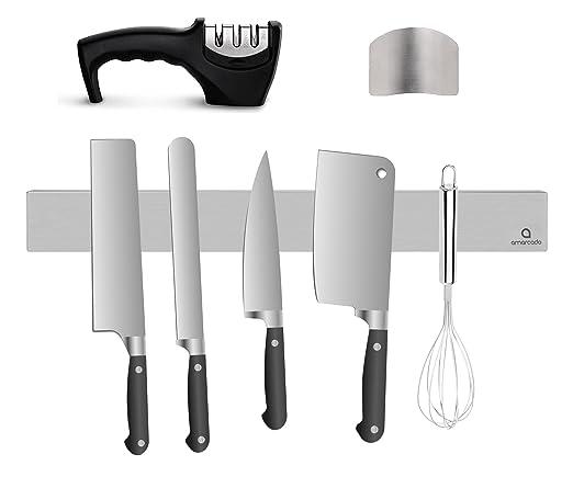 Amarcado Barra Magnética para Cuchillos 40 cm, Afilador de Cuchillos y Protector de Dedos - Soporte Colgante y magnético para Cuchillos de Acero ...