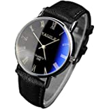 Pandaie Watch Luxury Fashion Faux Leather Mens Quartz Analog Watch Watches Black