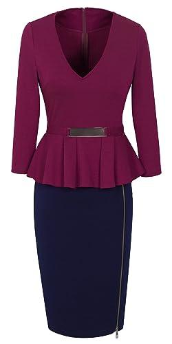 HOMEYEE Women's Colorblock 3/4 Sleeve Wear to Work Casual Dress B241