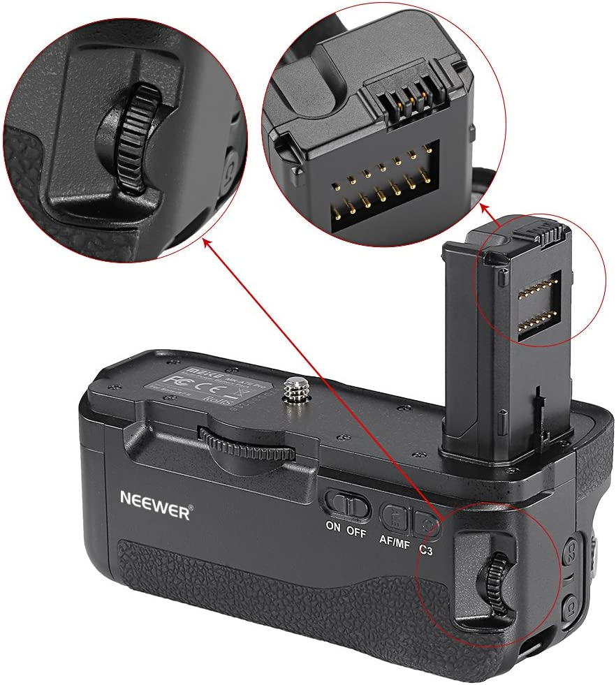 Battery Not Included Neewer Vertical Battery Grip for Sony A7II A7RII A7SII Cameras Replacement for Sony VG-C2EM Only Works with NP-FW50 Battery 2.4G LCD Wireless Remote Control Included
