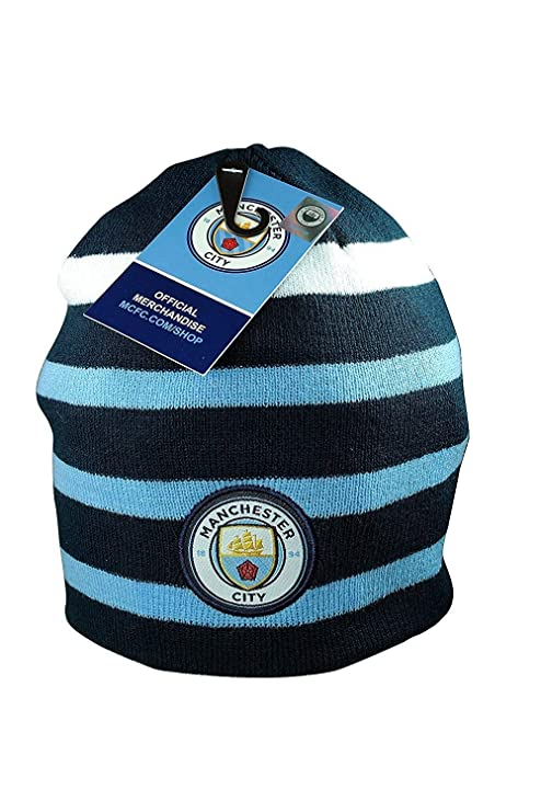 829d60fffca Amazon.com   Manchester City Set Beanie Skull Cap Hat + Silicone Rubber  Bracelet Set 2 Pcs MCB003   Sports   Outdoors
