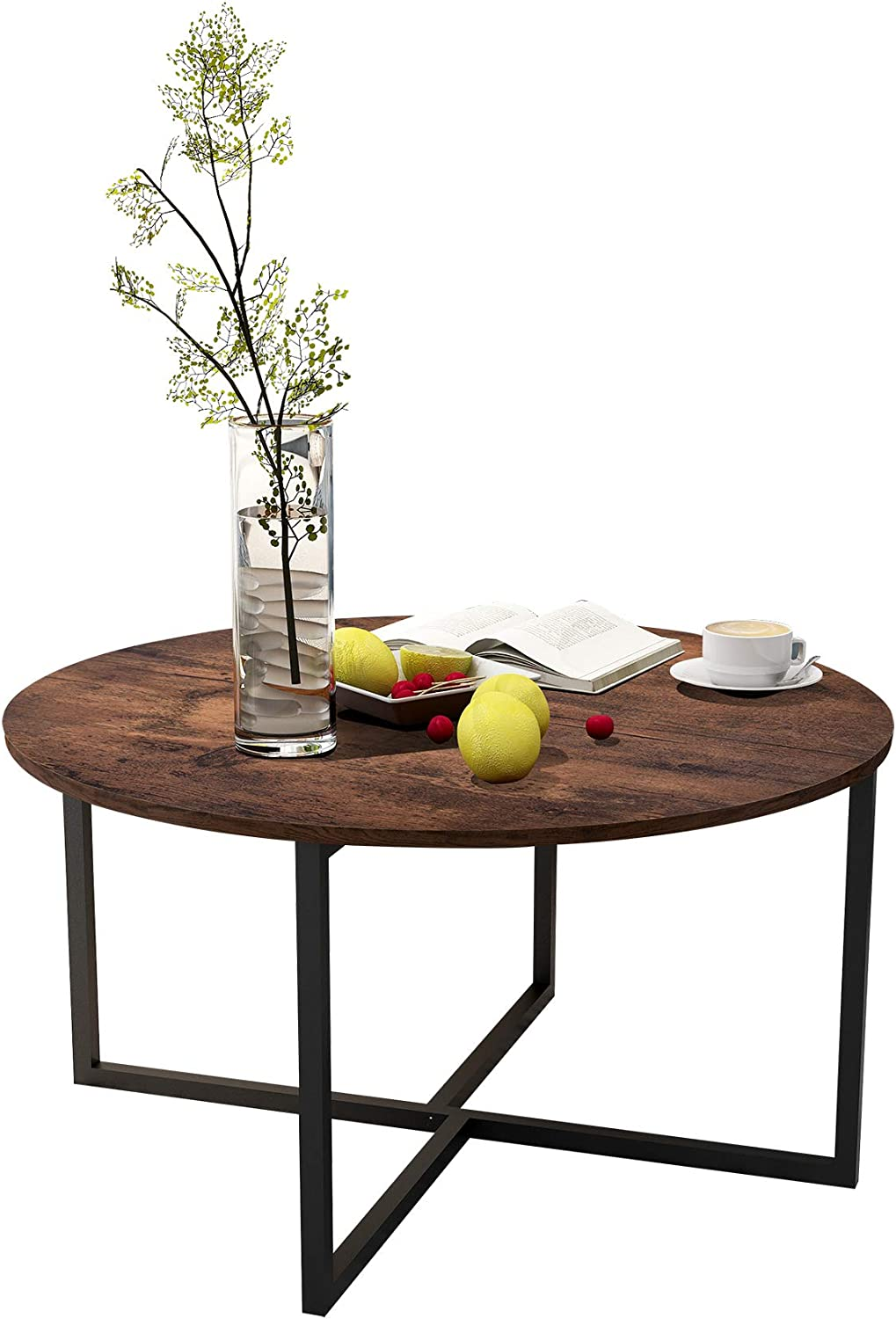Small Table for Kitchen Dining Room Creative Round Desk with Black Metal Legs Modern Coffee Tables Balcony Tea Table Study Desk Brown
