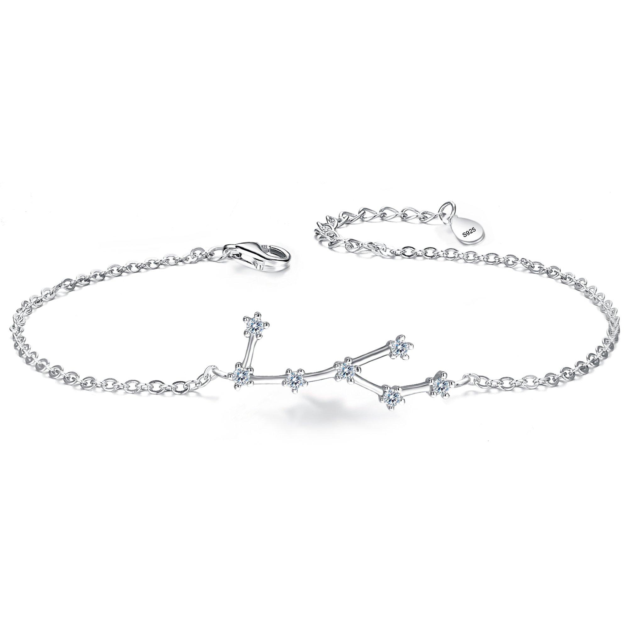 BriLove 925 Sterling Silver Bracelet -Virgo Constellation Zodiac 12 Horoscope Astrology Women CZ Link Bracelet Clear April Birthstone