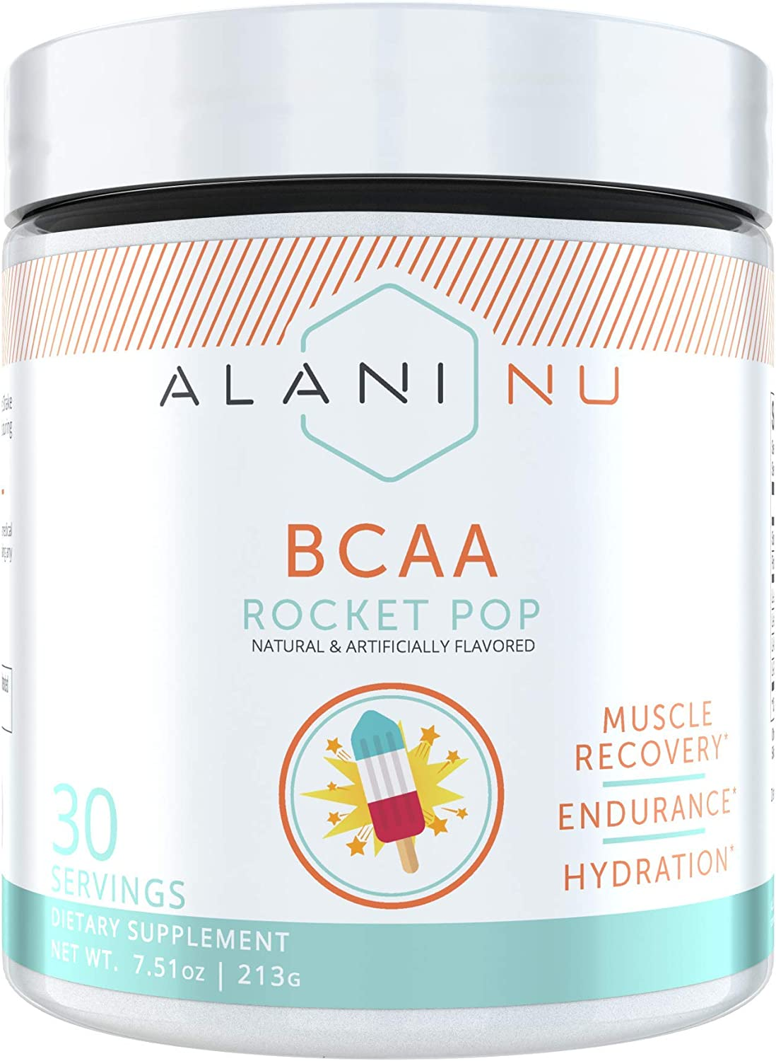 Alani Nu BCAA Branched Chain Essential Amino Acids, Muscle Recovery Vitamins for Post-Workout and Hydration, Rocket Pop, 30 Servings