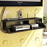 Home Sparkle TV Entertainment Unit | Wooden Carved Wall Shelf for Set Top Box and WiFi - Black