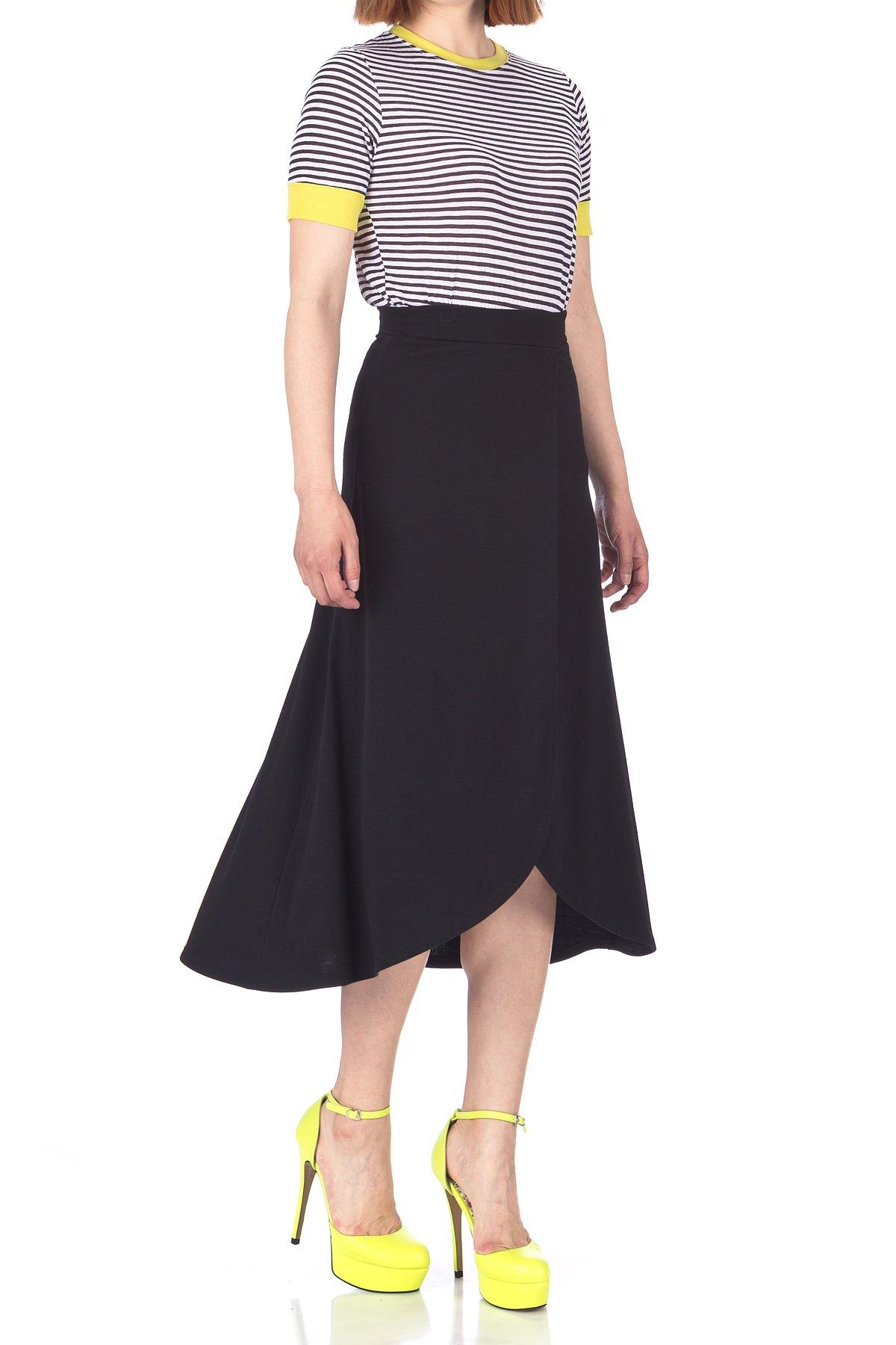 Easy Chic Wrap Style Full Flared Skater Swing Midi Long Maxi Skirt (S, Black)