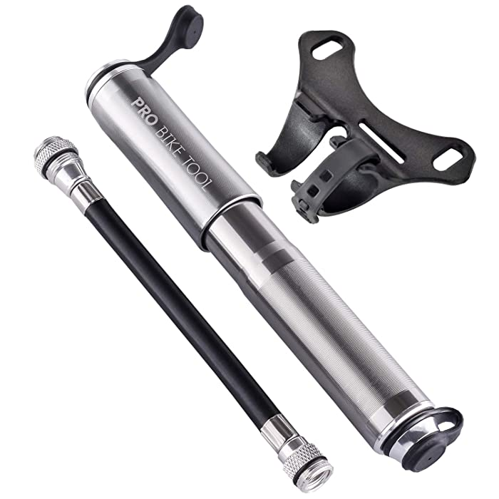 Pro Bike Tool Mini Bike Pump - Fits Presta and Schrader - High Pressure PSI - Reliable, Compact and Light