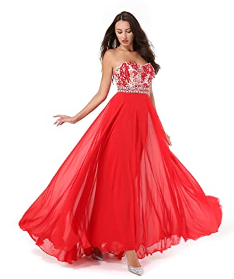Amberry Womens Strapless Sweetheart Beaded Chiffon Long Evening Prom Dresses with Detachable Shoulder Straps 1001(