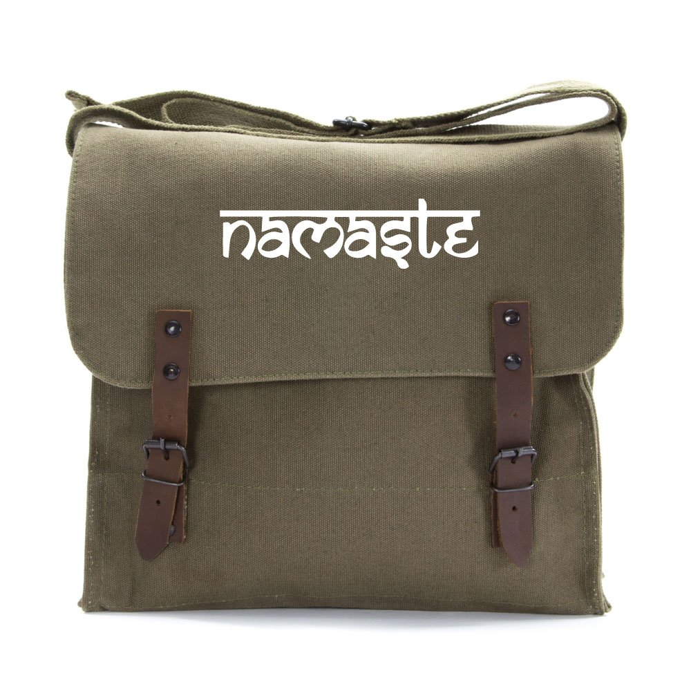 Namaste Tibet Buddha Army Heavyweight Canvas Medic Shoulder Bag in Olive /& White