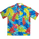 Pacific Legend | Original Hawaiihemd | Herren | S - 4XL | Kurzarm | Front-Tasche | Hawaii-Print | Funky Palmenblätter Blumen | Türkis