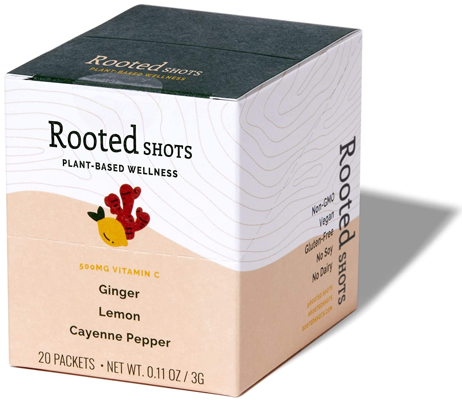 Rooted Shots - Ginger Lemon Cayenne Pepper Shot, 500mg Vitamin C, Non-GMO, Vegan, (20 Dried Plant-Based Wellness Blends)