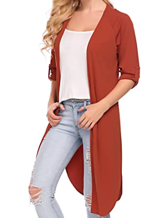 925cef70dfc4d9 Zeagoo Longline Cardigan Plus Size Long Sleeve Open Front Lightweight Side  Slit Jacket (Orange,