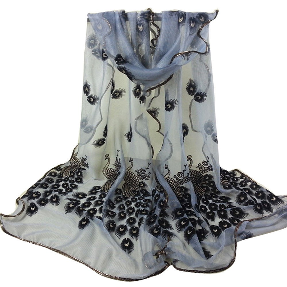 Long NylonScarf for Womens Floral Scarves Green D Flowers Neck Fashionable Printing Peacock Flower Embroidered Lace Lightweight Scarves for Ladies and Girls