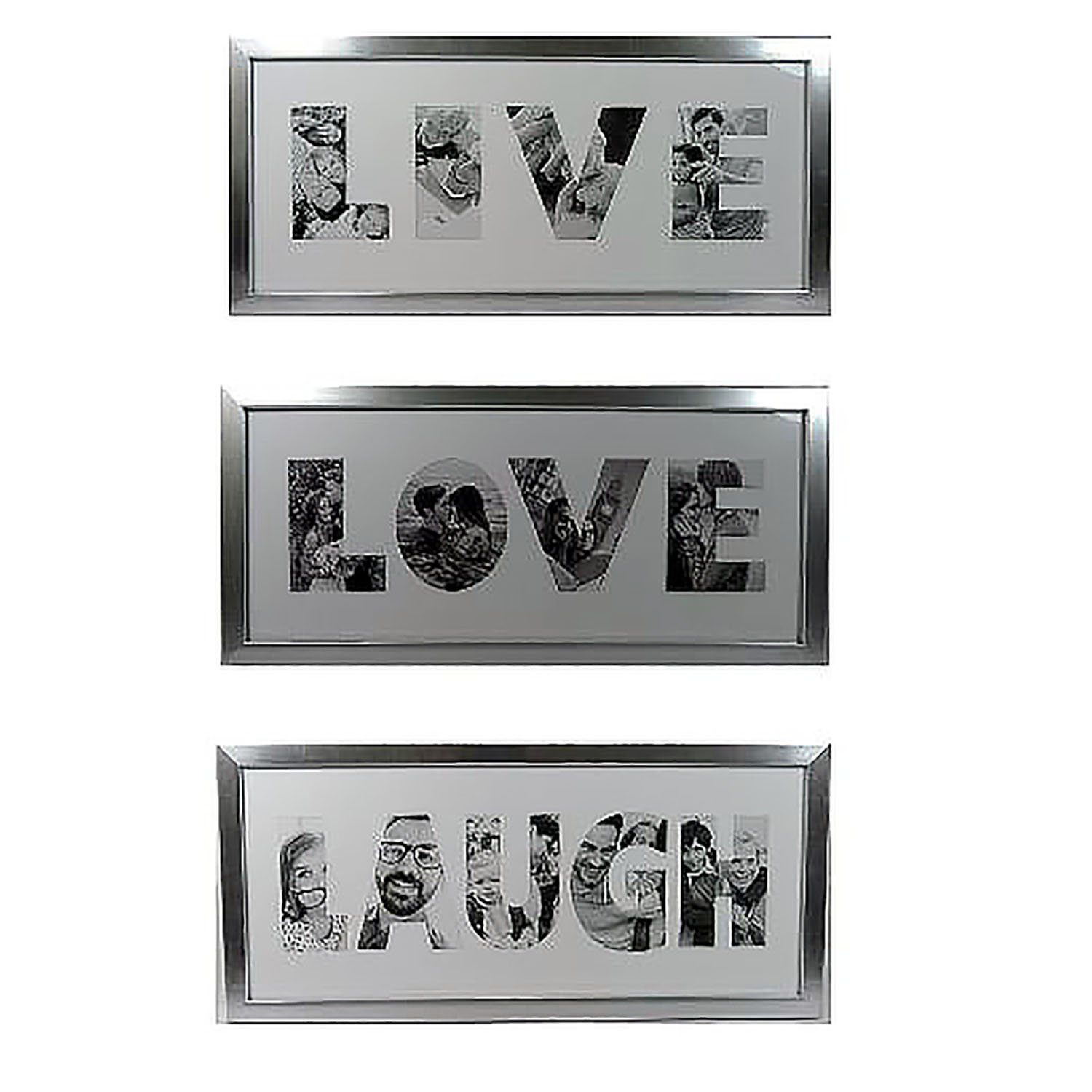6x14 Picture Frames Set of 3 LIVE LOVE LAUGH - Made to Display Pictures in each letter sizes 6x3.5 Easy To Hang Saw tooth Hook or Place Standing with added Swivel Tab - By Ashes to beauty