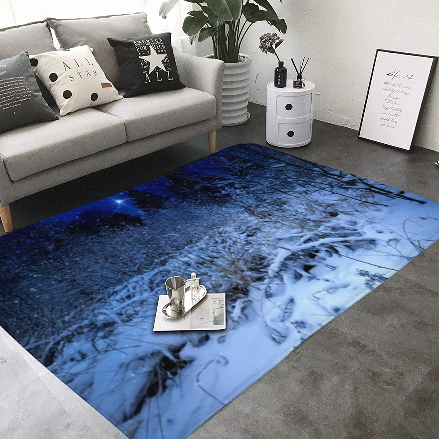 Area Rug Snowy Forest at Night with Xmas Star Holiday Bliz-zard Winter Sky Universe for Living Room Dining Room Bedroom playroom Parent-Child Game mat Study Office Room Decor TCY