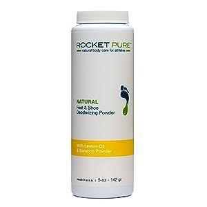 Natural Lemon Foot & Shoe Deodorizing Powder for Athletes. Removes Odor, Stink From Bacteria. Better than Antiperspirant, Insoles, Sneaker Balls. Use on Feet, Socks, Shoes (1-5 oz Bottle)