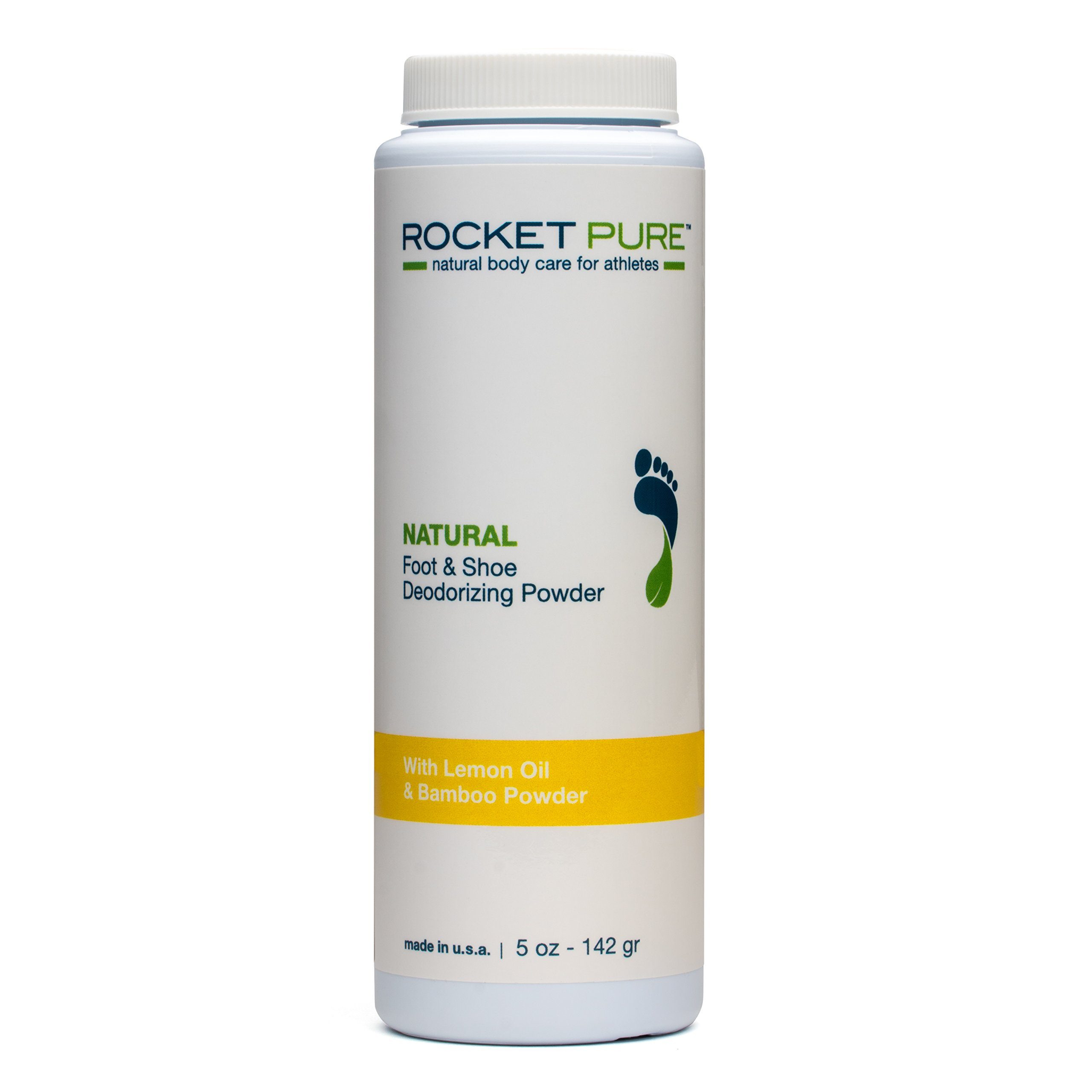 All Natural Lemon Foot & Shoe Deodorizing Powder for Athletes. Removes Odor, Stink From Bacteria. Better than Antiperspirant, Insoles, Sneaker Balls. Use on Feet, Socks, Shoes (1-5 oz Bottle)