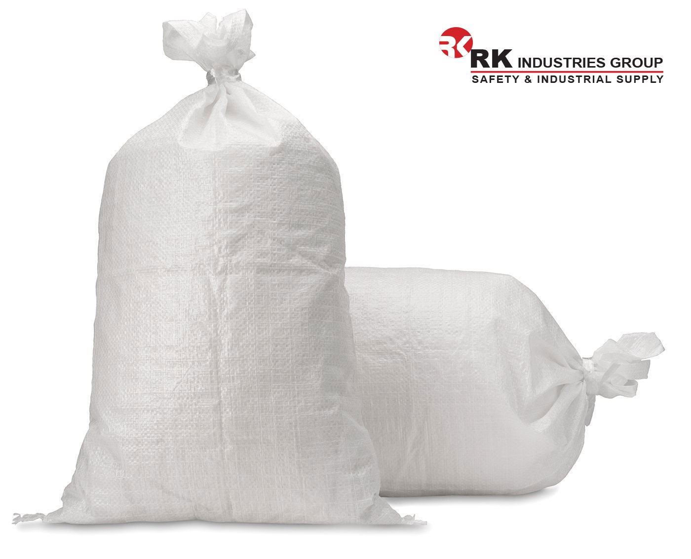 RK Sandbags Empty Woven Polypropylene Sand Bags with Built-in Ties, UV Protection, Dust Proof, Water and Oil Resistant (Size: 18x30, Pack of 100) by RK Safety