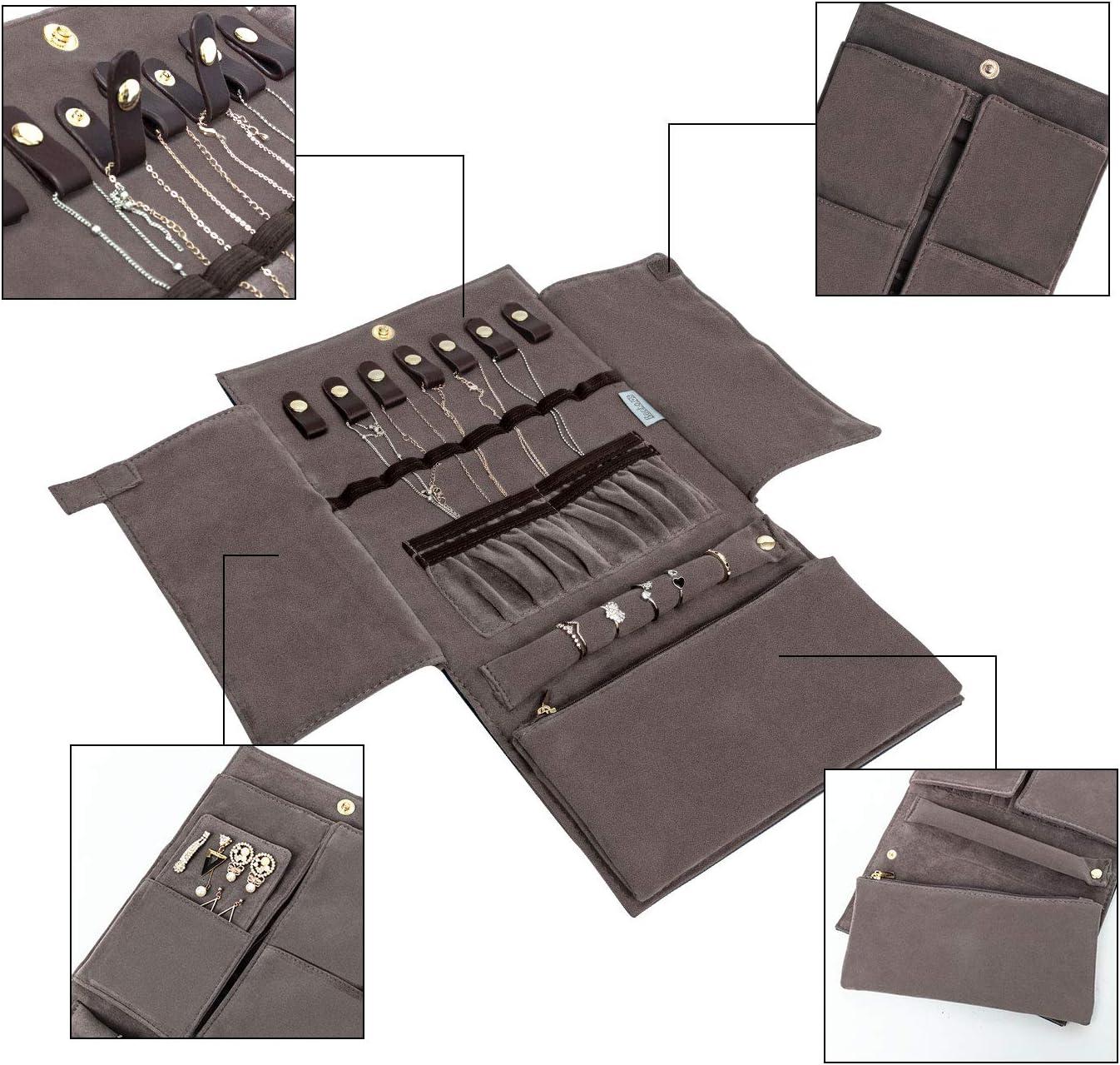 gran capacidad sin arrugas Becko cuero flexible y ante pulseras anillos ligero port/átil y pr/áctico Organizador de joyas para m/últiples collares