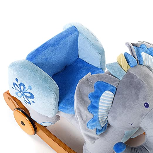 Amazon.com : Hessie Modern Plush Rocking Horse with Soft Cute Stuffed Animal, Indoor Ride On Toys Rockers with Wheels for Toddlers Kids Little Boys & Girls ...