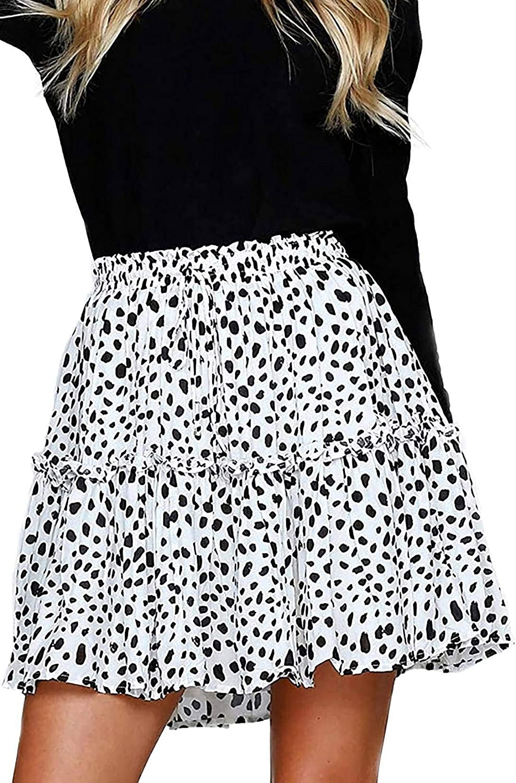 Alelly Women's Summer Cute High Waist Ruffle Skirt Floral Print Swing Beach Mini Skirt: Clothing