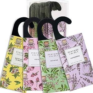 Rose Cottage 12Packs Floral Hanging Potpourri Bags Natural Air Freshener Closet Fresheners Sachets Air Deodorizer Closet Odor Eliminator