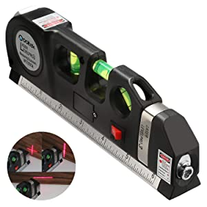Qooltek Multipurpose Laser Level Laser Line 8 feet Measure Tape Ruler Adjusted Standard and Metric Rulers for hanging pictures