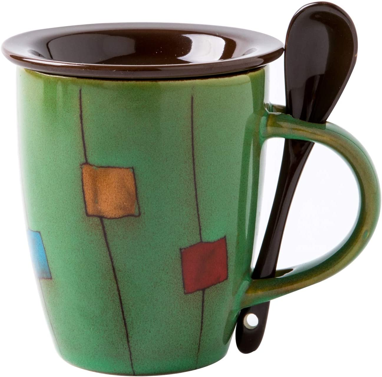 Yellow Pink,Green 17oz Lovely 4 Pattens Coffee mug with lid/&spoon Ceramic Blue
