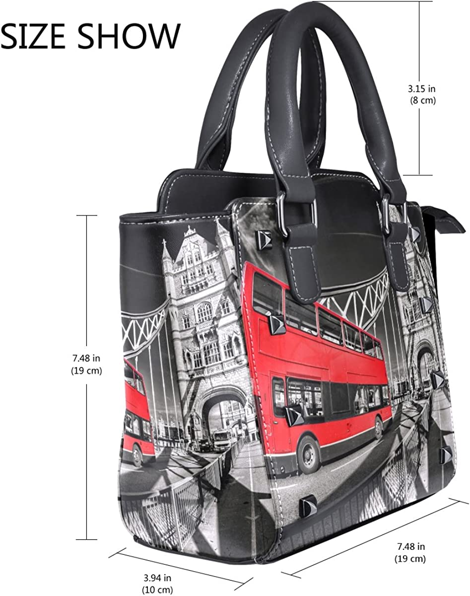 Jennifer Famous Tower Bridge With Red Bus In London PU Leather Top-Handle Handbags Single-Shoulder Tote Crossbody Bag Messenger Bags For Women