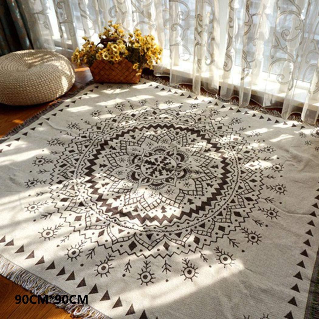 Mimanou Tapis de Salon Canap/é-lit de Tapis de Coton Floral Couverture de Style Ethnique Tapis