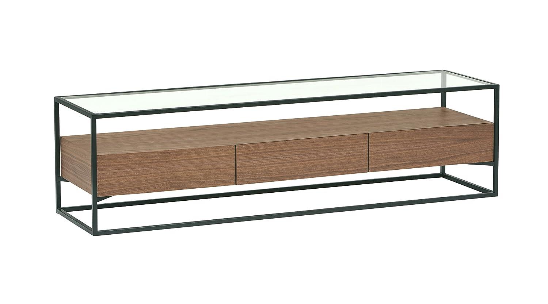 Rivet King Street - Meuble multimédia pour TV et consoles à 3tiroirs au style industriel, Noyer, métal noir et verre métal noir et verre CB-093 oak
