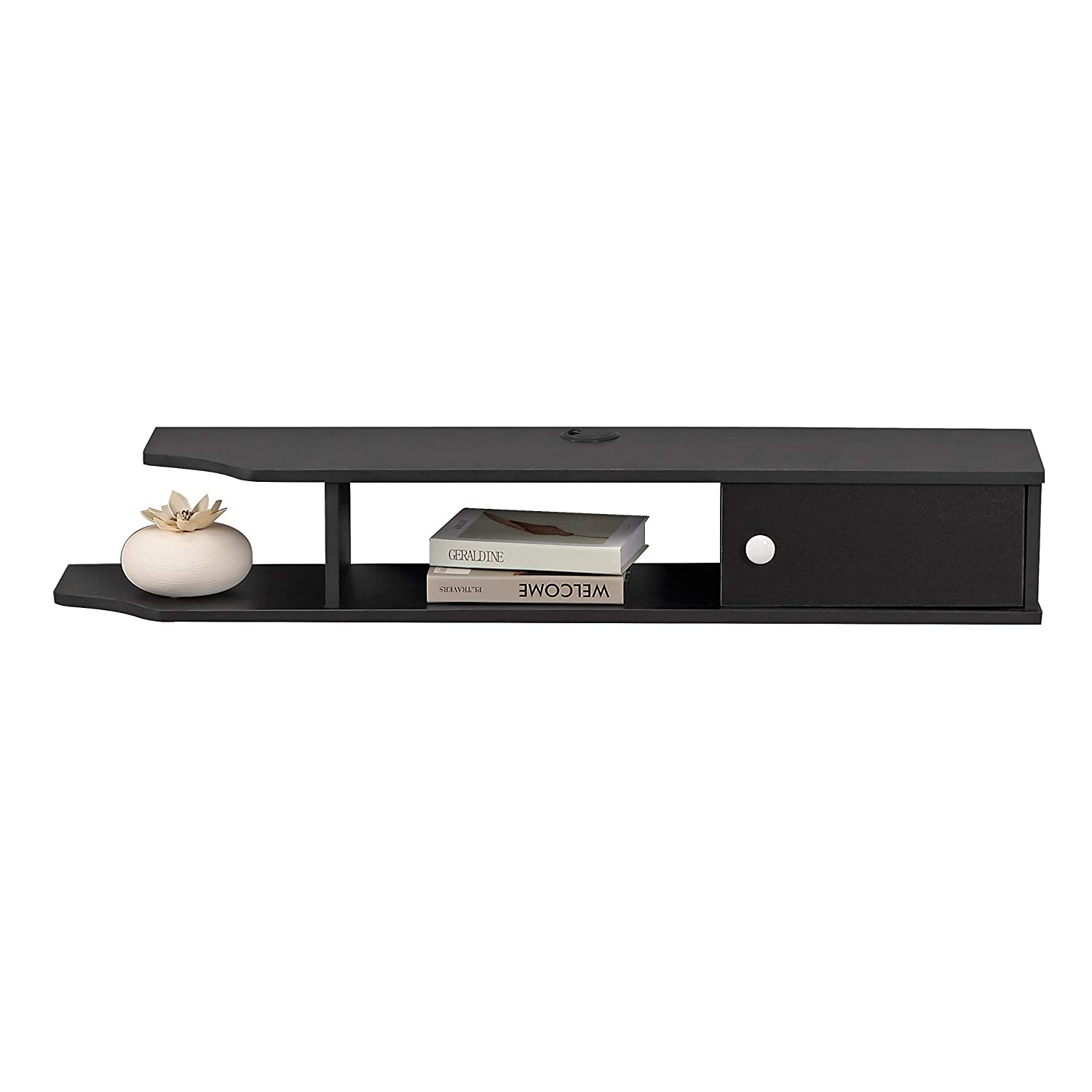 Bizzoelife Floating Media Console TV Stand Wall Mounted TV Console 43 Inches for Cable Boxes Router DVD Player