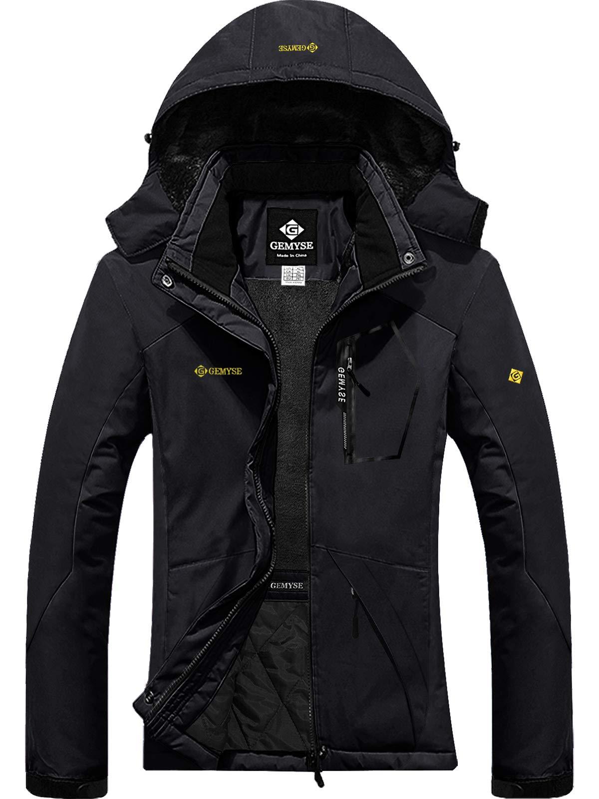 GEMYSE Women's Mountain Waterproof Ski Snow Jacket Winter Windproof Rain Jacket (Black,XL) by GEMYSE