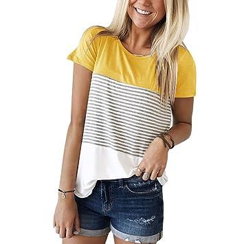 Luxspire Blusas Camiseta Para Mujer, Camisa de Manga Corta de Rayas Casual en Oferta Suelto