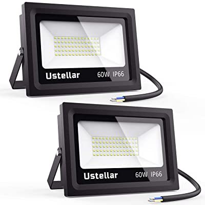 Ustellar 2 Pack 60W LED Flood Light, IP66 Waterproof