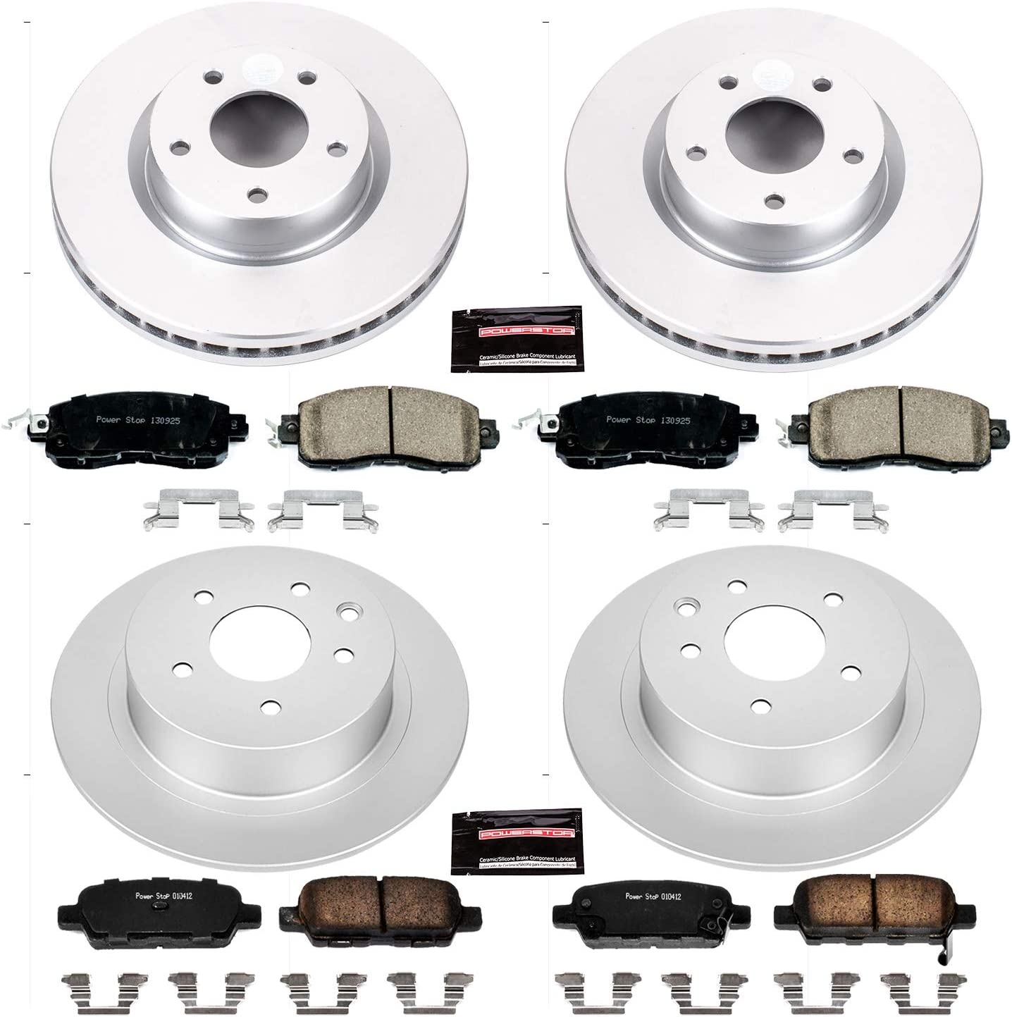 Power Stop CRK1921,Z17 Coated Rotor Front and Rear Brake Kit-Coated Brake Rotors /& Ceramic Brake Pads