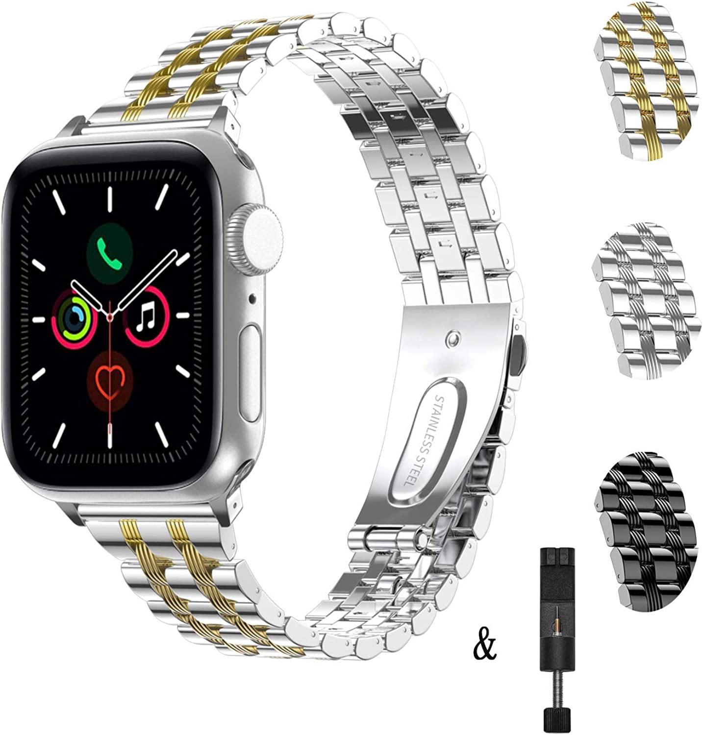 TOWOND for Apple Watch Band 38mm 40mm 42mm 44mm, iWatch Band Women Stainless Steel Bracelet Adjustable Wristband Metal Buckle Clasp Strap for iWatch Series SE Series 6 5 4 3 2 1