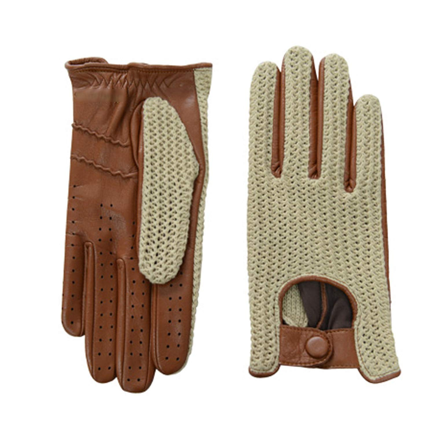 Mens Touchscreen Weaving Driving Motorcycle Leather Gloves,1 pairs Various style gloves Color : Black, Size : S