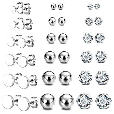 59f27e04a5b1 JewelrieShop - Pendientes de bola redonda de acero inoxidable con  circonitas cúbicas y perlas sintéticas