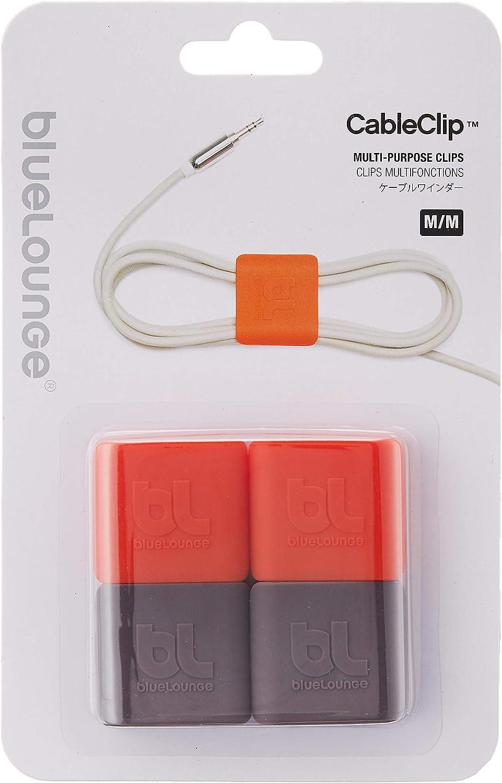 Bluelounge Cable Clip Medium Grau Orange Elektronik