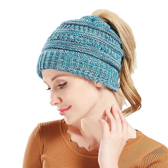 Boomly Boomly Frauen Mädchen Strickmütze Trendige Mütze Wintermütze