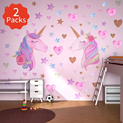 Beanlieve 2 Pack Unicorn Wall Stickers, Removable Unicorn Wall Decals with Hearts & Stars, Reflective Unicorn Wall Decor Stickers for Birthday Party,Kids Bedroom, Baby Nursery Room (2-Sticker): Arts, Crafts & Sewing