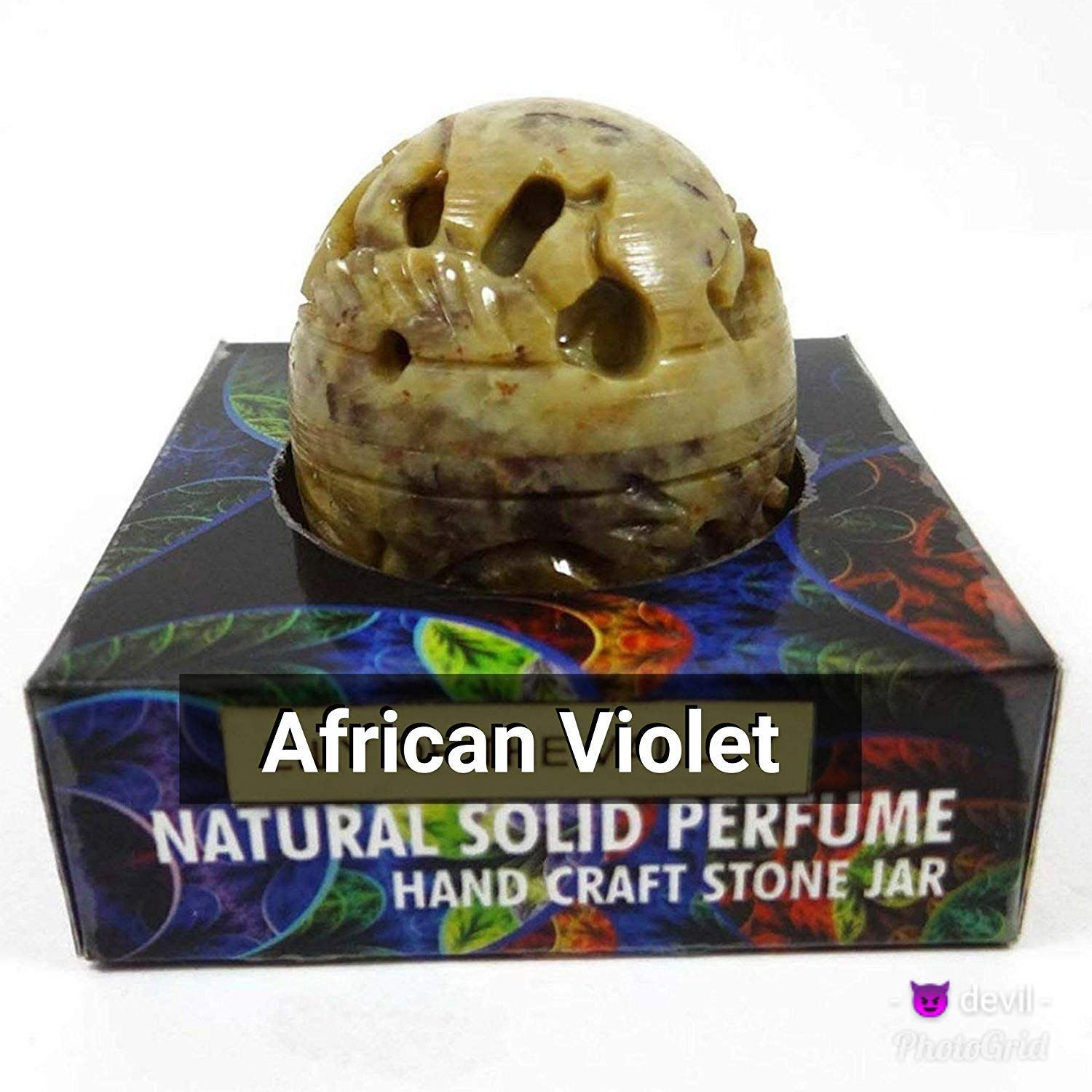 Natural African Violet Solid Perfume in Hand Crafted Stone Jar Made in India - 8g